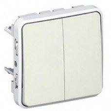 Plexo Переключатель на два направления 2-клавишный 10А, ІР55, ІК07 с безвинтовыми зажимами белый