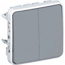 Plexo Переключатель на два направления 2-клавишный, 10А, ІР55, ІК07, с безвинтовыми зажимами; Серый
