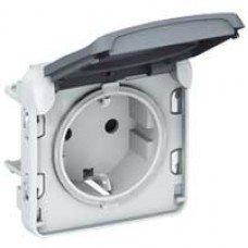Plexo Розетка электрическая 16А, 2К+З, ІР55, ІК07 с крышкой, винтовые зажимы, Белый