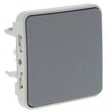 Plexo Выключатель промежуточный 1-клавишный,10А, ІР55, ІК07, с безвинтовыми зажимами; Серый