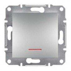 ASFORA Одноклавишный выключатель с подсветкой алюминий, Schneider electric
