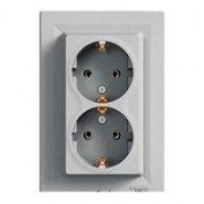 ASFORA Розетка двухместная с заземляющим контактом алюминий, Schneider electric