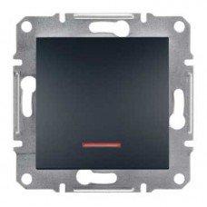 ASFORA Одноклавишный выключатель с подсветкой антрацит, Schneider electric