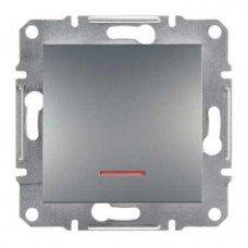 ASFORA Одноклавишный выключатель с подсветкой сталь, Schneider electric