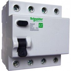 EZ9 Дифференциальный выключатель, 4Р; 0,03А; 25А; ТИП АС, Schneider electric