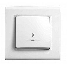 Выключатель 1-клавишный проходной с подсветкой ViKO Karre, белый