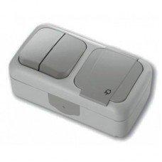 Выключатель 2-клавишный + Розетка с заземлением IP-54 ViKO Palmiye, серый
