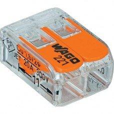 Клемма 2-контактная для распределительный коробок, подключения светильников 0,08-2,5мм² прозрачная, WAGO