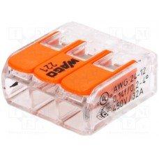 Клемма 3-контактная для распределительных коробок, подключения светильников 0,08-2,5 мм² прозрачная (WAGO)