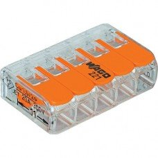 Клемма 5-контактная для распределительных коробок, подключения светильников 0,08-2,5мм² прозрачная (WAGO)